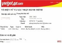 Điều kiện sử dụng vé Vietjet Air Mẫu vé điện tử Vietjet Air